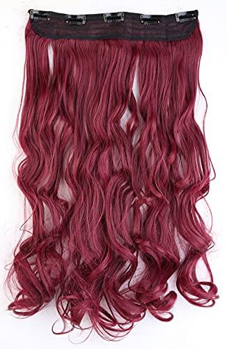 Roxo, vermelho, encaracolado, moderno, 66 cm, meia cabeça inteira, uma peça, 5 clipes de extensões de cabelo com clipe, extensão longa e reta