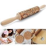 O-Kinee Teigroller Weihnachten, Holz Nudelholz mit Prägung, Nudelholz Muster, Prägerolle zum Backen für DIY Weihnachten Küche Lebkuchen Plätzchen
