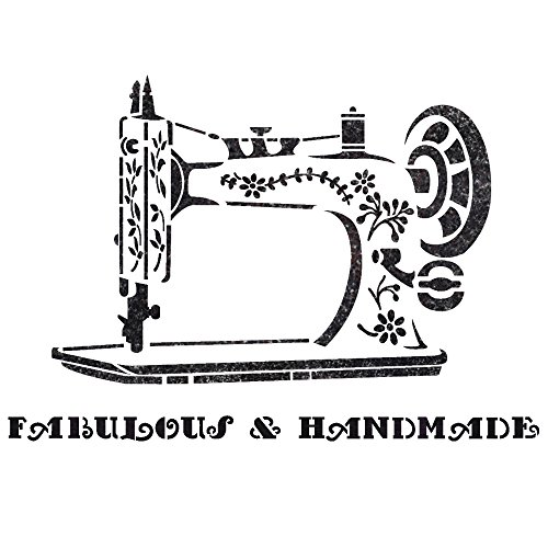 J BOUTIQUE STENCILS Vintage Sewing Machine Stencil for Crafting DIY Wall Decor Furniture