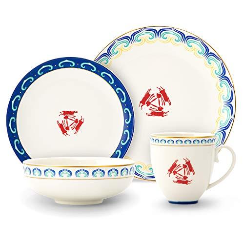 SULIVES Keramik Geschirr Set Teller, Schalen, Tassen, Service für 1 (Blau)