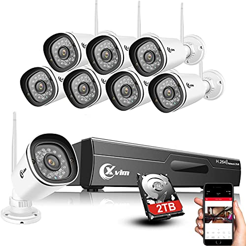 XVIM 2TB HDD 8pcs 1080P Cameras Wireless Signal Security Cameras System, 8CH 1080P NVR with Motion Alert and Remote Viewing, IP66 Waterproof, Night Version