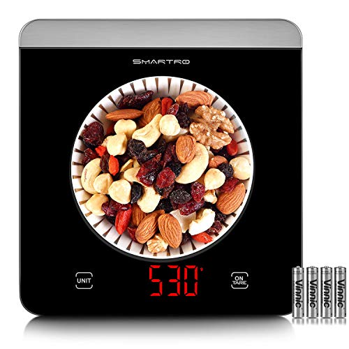 SMARTRO Food Scale, 11lb Digital Kitchen Scale Weight Grams and Ounces for Cooking Baking, 1g/0.01oz Precise, Black LED Display, Large Tempered Glass