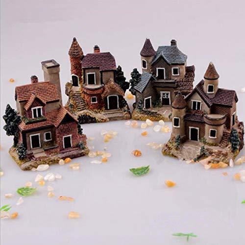 Binwat 4 STKS Miniatuur Huis Fee Tuinieren Micro Landschap Dorp Stone House Bonsai Terrarium Ambachten Ornamenten Accessoires Home Decoratie Hars