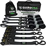 RHINO USA Ratchet Straps (4PK) - 1,823lb Guaranteed Max Break Strength, Includes (4) Premium 1in x 15ft Rachet Tie Downs with Padded Handles. Best for Moving, Securing Cargo (BLACK)