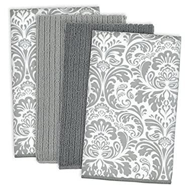 DII Microfiber Multi-Purpose Cleaning Towels Perfect for Kitchens, Dishes, Car, Dusting, Drying Rags, 16 x 19, Set of 4 - Gray Damask