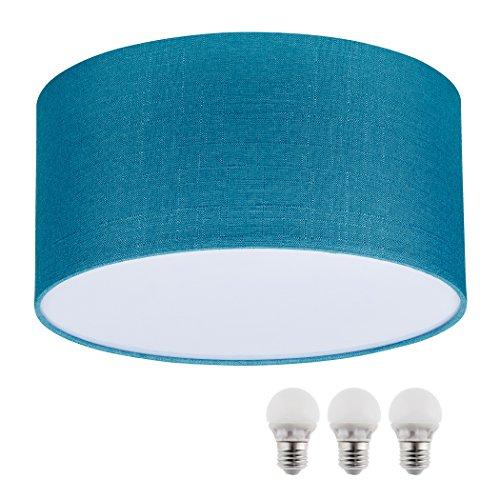 sebson Deckenleuchte türkis Textil, inkl. E27 LED Lampe 5W warmweiß, 40cm Durchmesser, Leuchte rund Textilschirm, Deckenlampe