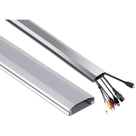 Maclean MC-693 - Canaleta para cables de televisión Color blanco, negro o plateado (plateado)