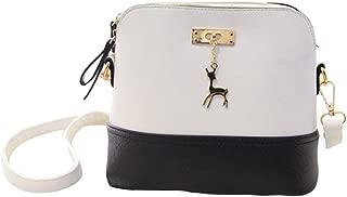 Tinksky PU Leather Shoulder Bag Small Shell Cross-body Satchel Casual Handbag Christmas Birthday Gift for Women Girls (Black and White)