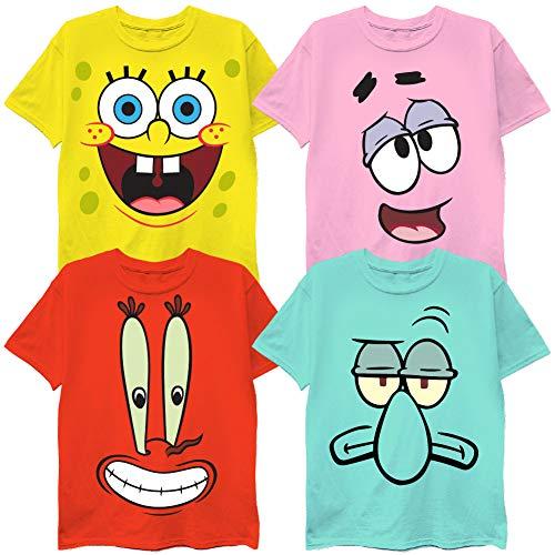 FREEZE Spongebob Character Big Face T-Shirt Bundle (4, SpogeBob,Patrick,Squidward & Mr. Krabs)