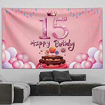 Happy Birthday Banner,15th Birthday Decorations for Girls,15th Birthday Photo Backdrop Banner Yard Signs,15th Birthday Party Supplies,Sweet 15 Year Old Girl Birthday Gifts,Pink Gold Balloons Tapestry