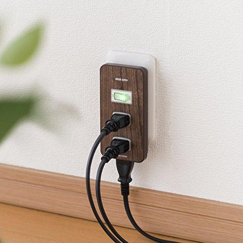 サンワダイレクト電源タップ3個口一括スイッチほこりシャッター付トリプルタップ木目調<PSE取得>700-TAP027M