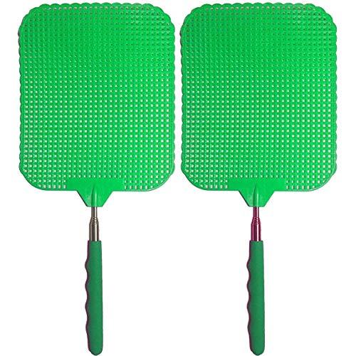 marion10020 Fliegenklatsche Fliegen-Klatsche Klatsche XXL, ausziehbar von 34 cm bis 76 cm, Schlagfläche 19 x 16 cm, grün, 2er-Set