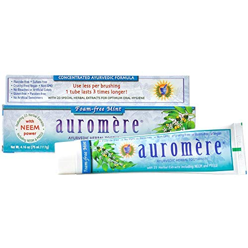 Auromere THRAU0080 Ayurvedic Herbal Toothpaste, Foam-Free Mint, 4.16 Ounce