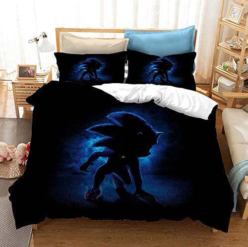 Ropa de camadibujos animados para niños, ropa de cama con funda nórdica de animación sónica, funda nórdica y funda de almohada con 3D, textiles para dormitorios de niños y niñas-B_200x200cm (3 pcs)