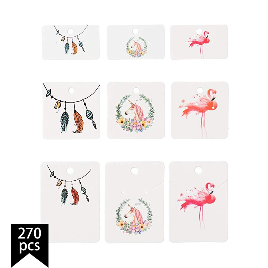 Calculs Pack of 270 pcs Multi-Size Colorful Printing Paper Necklace Earrings Display Hanging Cards for Jewelry Accessory Display with Earring Backs, 3 x 5cm, 5 x 5cm, 5 x 7cm