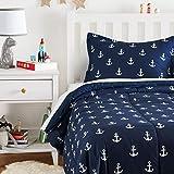 Amazon Basics Kid's Comforter Set - Soft, Easy-Wash Microfiber - Twin, White Anchors