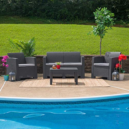Flash Furniture Dark Gray Faux Rattan Loveseat with All-Weather Light Gray Cushions