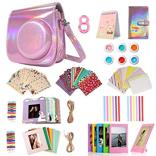 Kit de accesorios 14 en 1 para Fujifilm Instax Mini 9/8/8+ incluye funda/álbum/lente selfie/filtro/marco de película/marco de pared/pegatina para marco/calendario de películas