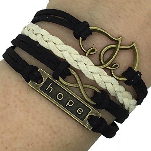Boolavard® TM (B18) Infinity Vintage main 8 Double Heart espoir Bracelet en cuir Bracelet y compris la boîte-cadeau par