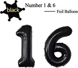 40 Inch Jumbo Black Foil Mylar Number Balloon for Men Women 16th Birthday Party Decoration 16 Years Old Anniversary Party Supplies