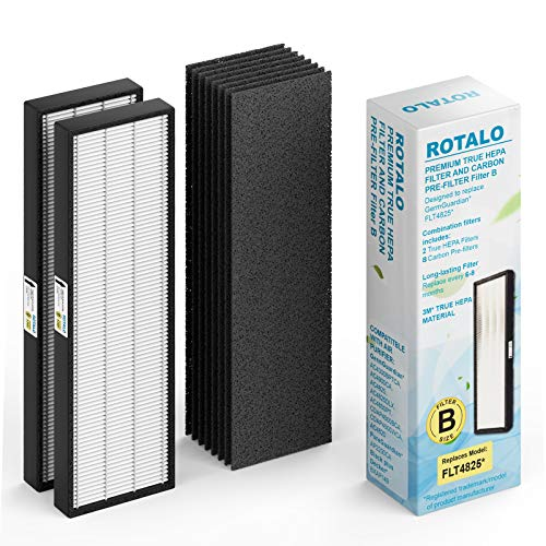 Filter Hepa B ROTALO AC4825 Replacement Germguardian Filters 2 Pack True HEPA GermGuardian AC4825 Filters B with 8 Carbon Pre-Filters Compatible with GermGuardian Air Purifier AC4300/AC4800/AC4900/AC4825 and More