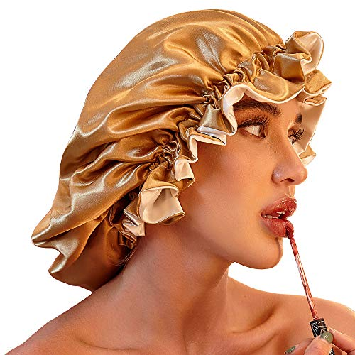Satin Bonnet for Natural Hair Bonnets for Black Women Silk Bonnet for Curly Hair Cap for Sleep Silk Hair Wrap for Sleeping(Khaki)