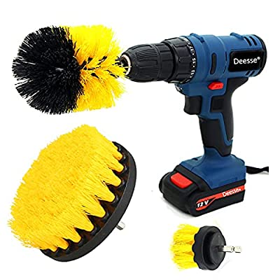 Electric Drill Brush Accessories,Deesse Kitchen Cleaning Brush, Power Scrubber Cleaning Brush Attachment Set All Purpose Drill Scrub Brushes Kit for Grout, Floor, Tub, Shower, Tile, Car,Oil, Carpet