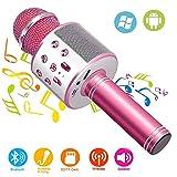 Phiraggit Micrófono Inalámbrico Bluetooth, Bluetooth Altavoz, Portátil Karaoke Bluetooth Dispositivo de mano Karaoke Player Micrófono para niños adultos Casa KTV Party para Android/Ipad/PC
