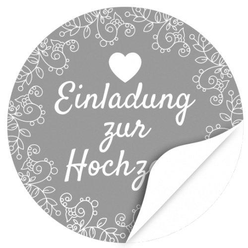 48 moderne Design Etiketten, rund/Grau/Hochzeit/Liebe/Herz/Einladung/Aufkleber/Sticker/Heiraten
