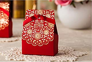 Zorpia® 50 Pcs Shiny Glitter Sparkling gold flower chinese red wedding sweet box DIY Square Wedding Bridal Party Favor Candy Gift Boxes ZRA0168887(Red)
