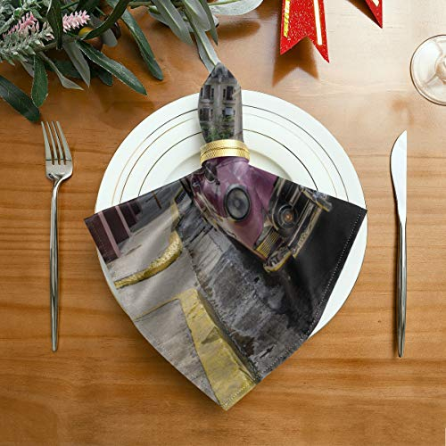 WDDHOME Serviettenstoff EIN schickes amerikanisches Oldtimer-Servietten 20 x 20 Zoll für Familienessen, Hochzeiten, Cocktails, Geschirrdekoration in der Küche