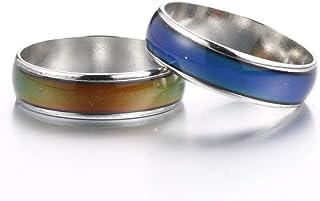 2pcs 6mm تغییر رنگ حلقه حالت احساسات دما درجه حرارت رنگ تغییر رنگ حلقه برای زنان مردان دختر بچه ها
