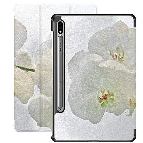 Funda para tablet Samsung Galaxy Tab S7/S7 Plus de 7 pulgadas, diseño de orquídea, color blanco