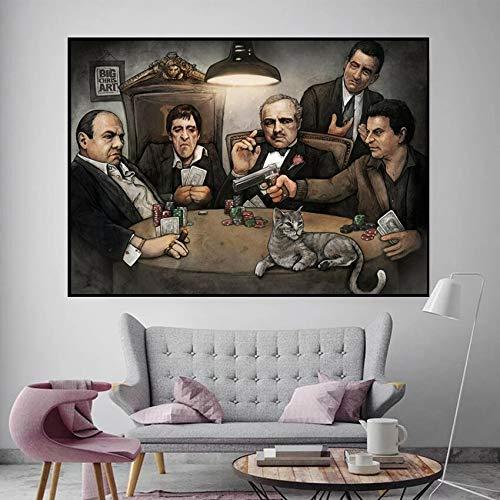 ganlanshu Rahmenlose Malerei Klassischer Film Gangster Pate Narbe Gesicht Kunst Poster Leinwand Malerei Wandplakat und Wohnzimmer ProdukteCGQ8283 42X70cm