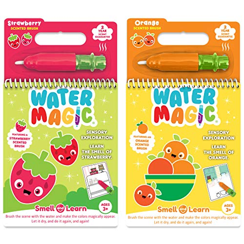 Scentco Water Magic - Scented Reusable Water Reveal Activity Books - No Mess, All Fun (Strawberry and Orange)