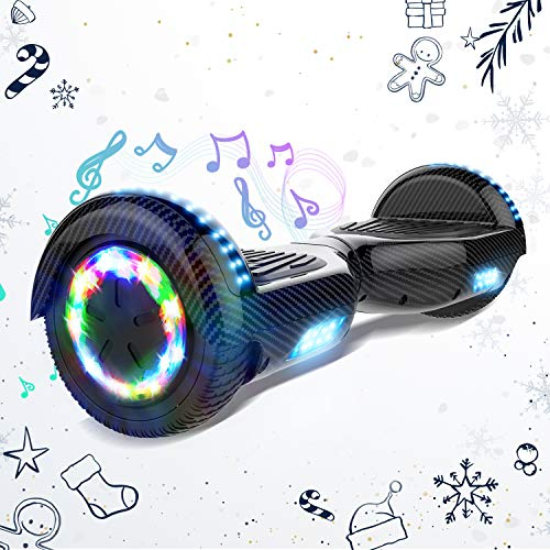 HITWAY 6,5 Pulgadas Hoverboard Patinete Eélctrico Scooter Electrico Hover Scooter Board con Altavoz Bluetooth y Luces LED Flash, Niños