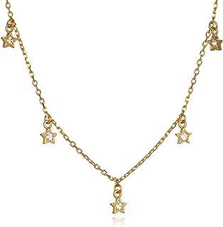 Satya Jewelry Women's White Topaz Gold Star Choker Necklace (14-inch +2