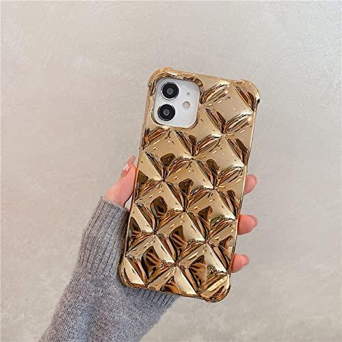LIUYAWEI Shiny 3D Plating Cube Bumper Funda de teléfono de Silicona Suave a Prueba de Golpes para iPhone 7 8 Plus X XS XR MAX 11 Pro SE 2 12 Mini 6 6S Carcasa, Dorado, para iPhone 12