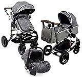 Carro bebé 3 piezas, capazo + silla de paseo + silla de coche + accesorios....