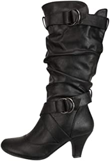 Women's Leather Knee Boot Chunky Heel Soft Shoes Set of Feet Thigh High Boot Sunmoot-Shoes