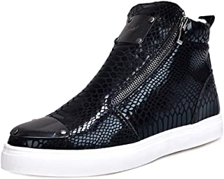 Yong Ding Men Winter High Top Sneakers Plush Lining Flat Leather Ankle Boots with Zipper for Warm Snow and Autumn