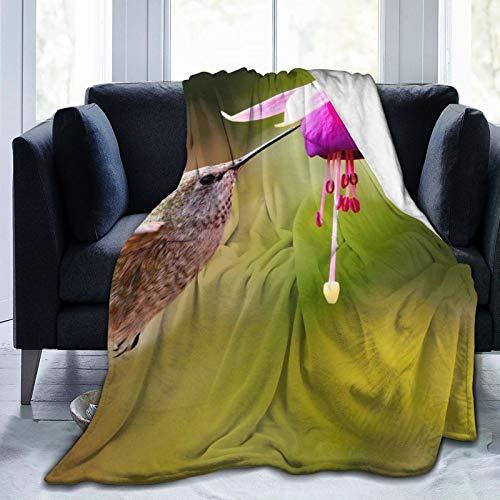 Colorful products Manta de forro polar de 127 x 152 cm, diseño de flores, color fucsia, para el hogar, colibrí, forro polar, suave y cálido, para cama/sofá/oficina/camping