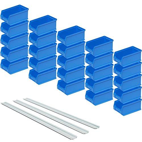 BRB Set - 25x Sichtstapelkästen Profi LB5, blau, Inhalt 0,85 Liter, LxBxH 175 x 100 x 75 mm inkl. 3 verz. Wand-Aufhängeschienen
