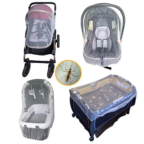 Baby Mosquito Net for Outdoor Infant, Perfect Fit for Stroller, Car Seats, Bassinets, Cradles, Carriers, Playards and Portable Mini Crib, Fine Mesh Protection Against Insects, No Harmful Chemicals