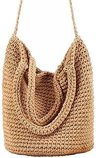Kuke Rattan Straw Handbag Handmade Retro Straw Handbag Lady for Beach Travel Summer Shoulder Bags Bucket Bag Totes for Women (Brown)
