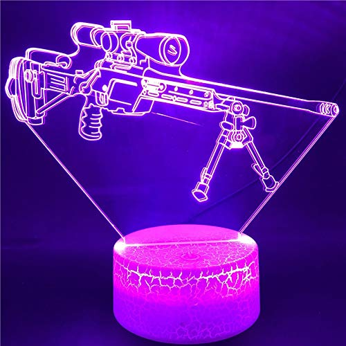 Base Model Sniper Rifle Best Gift for Boys Touch Sensor Atmosphere Bright Base LED Night Light Colorful with Remote