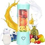 ZHIRCEKE Taza de Jugo portátil, Taza de Jugo Recargable, Fruta Personal portátil y licuadora de Verduras, licuadora de Frutas Recargables USB con 6 Hojas, para Jugo, Vegetal,B