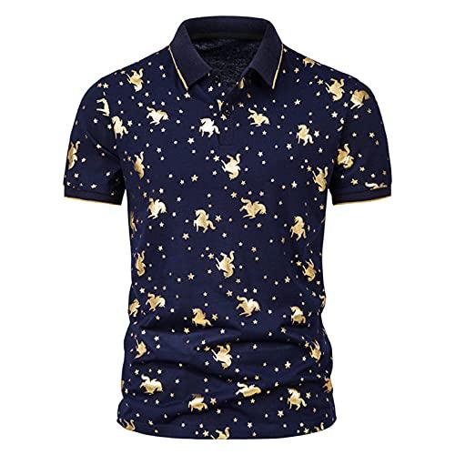 Camisa de verano para hombre, de Star Chain Bronzing Print, camisa polo de manga corta con solapas, corte ajustado, para tiempo libre E_marine XXL