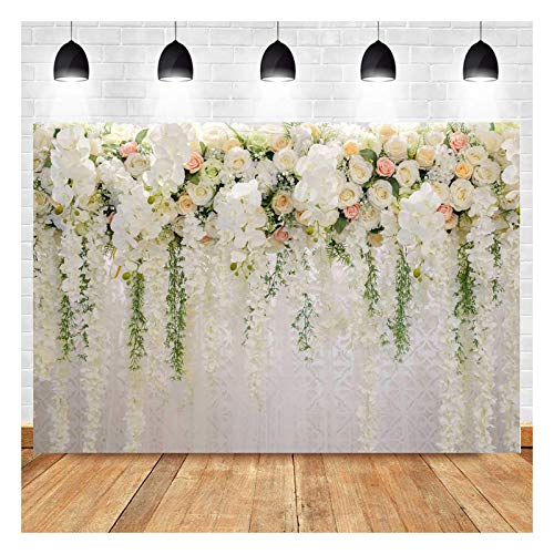 White Rose Floral Theme Photography Backdrops Bridal Shower Wedding Flowers Photo Background Baby Girl Birthday Party Portrait Dessert Cake Table Decor Photo Booth Studio Props 7x5ft Vinyl
