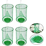 4 Pack Outdoor Ranch Fly Trap, Reusable Hanging Fly Traps Cages